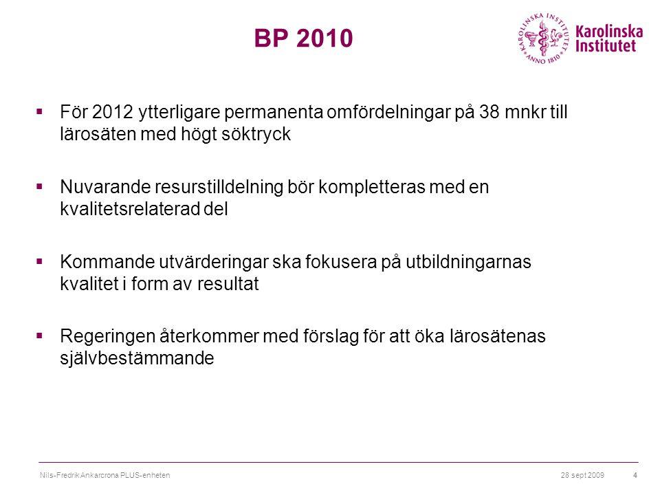 28 sept 2009Nils-Fredrik Ankarcrona PLUS-enheten4 BP 2010  För 2012 ytterligare permanenta omfördelningar på 38 mnkr till lärosäten med högt söktryck  Nuvarande resurstilldelning bör kompletteras med en kvalitetsrelaterad del  Kommande utvärderingar ska fokusera på utbildningarnas kvalitet i form av resultat  Regeringen återkommer med förslag för att öka lärosätenas självbestämmande