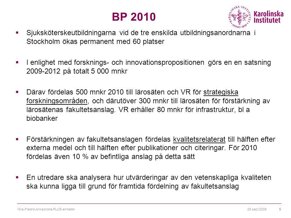 28 sept 2009Nils-Fredrik Ankarcrona PLUS-enheten5 BP 2010  Sjuksköterskeutbildningarna vid de tre enskilda utbildningsanordnarna i Stockholm ökas permanent med 60 platser  I enlighet med forsknings- och innovationspropositionen görs en en satsning 2009-2012 på totalt 5 000 mnkr  Därav fördelas 500 mnkr 2010 till lärosäten och VR för strategiska forskningsområden, och därutöver 300 mnkr till lärosäten för förstärkning av lärosätenas fakultetsanslag.