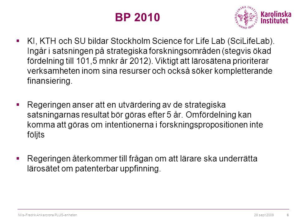 28 sept 2009Nils-Fredrik Ankarcrona PLUS-enheten6 BP 2010  KI, KTH och SU bildar Stockholm Science for Life Lab (SciLifeLab).