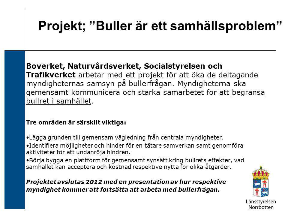 Boverket, Naturvårdsverket, Socialstyrelsen och Trafikverket arbetar med ett projekt för att öka de deltagande myndigheternas samsyn på bullerfrågan.