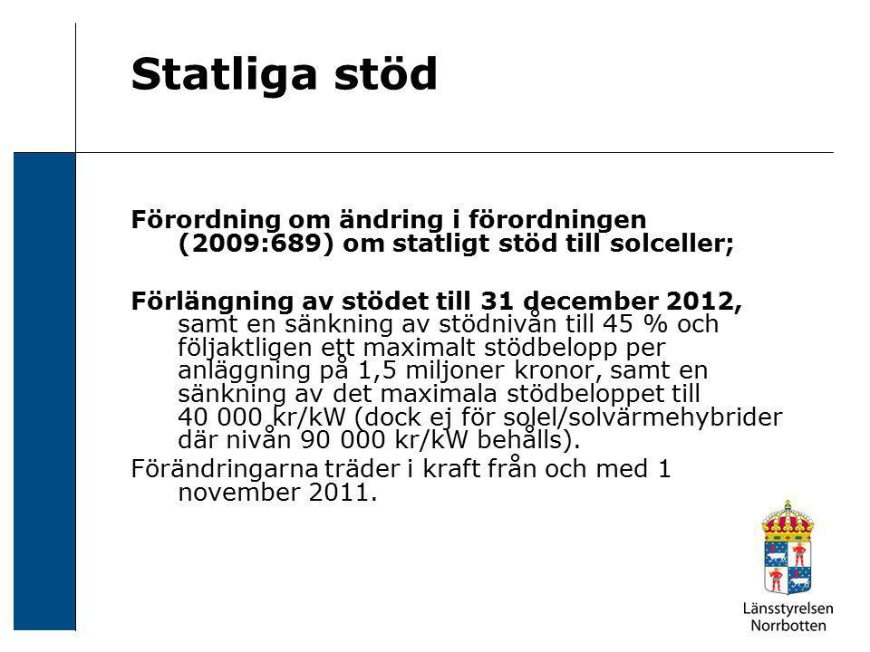 Statliga stöd Förordning om ändring i förordningen (2009:689) om statligt stöd till solceller; Förlängning av stödet till 31 december 2012, samt en sä