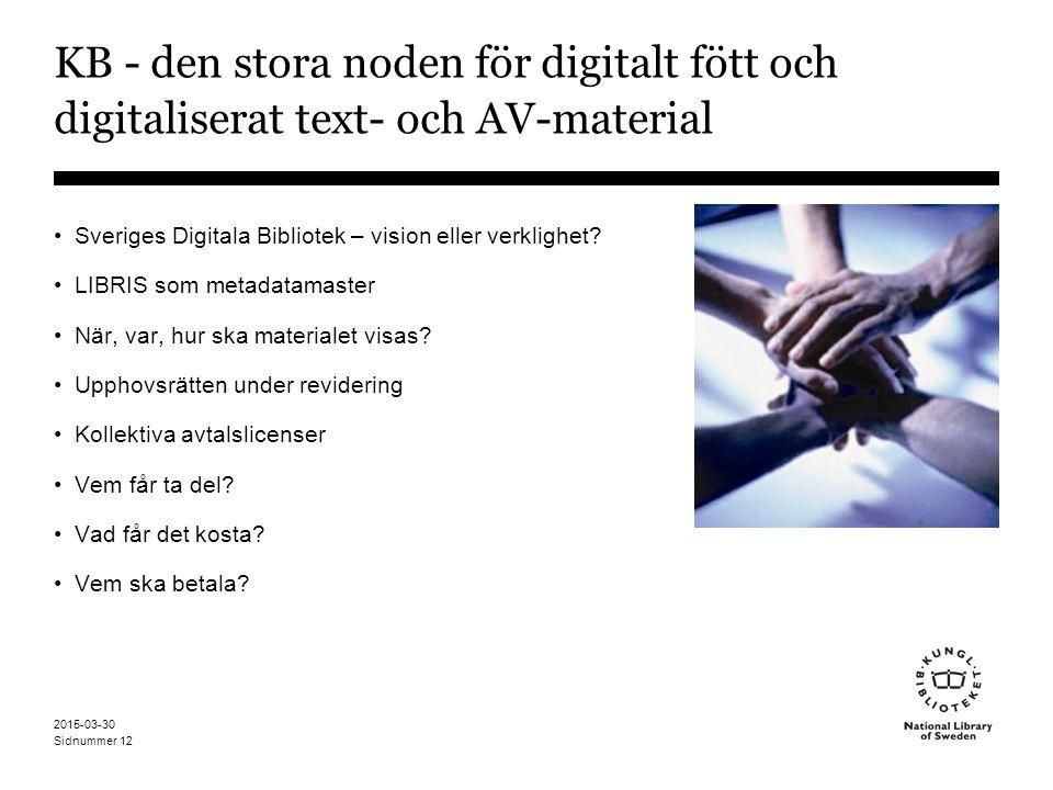 Sidnummer 2015-03-30 12 KB - den stora noden för digitalt fött och digitaliserat text- och AV-material Sveriges Digitala Bibliotek – vision eller verklighet.