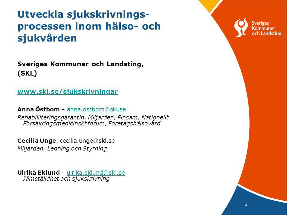 1 Utveckla sjukskrivnings- processen inom hälso- och sjukvården Sveriges Kommuner och Landsting, (SKL) www.skl.se/sjukskrivningar Anna Östbom – anna.ostbom@skl.seanna.ostbom@skl.se Rehabliliteringsgarantin, Miljarden, Finsam, Nationellt Försäkringsmedicinskt forum, Företagshälsovård Cecilia Unge, cecilia.unge@skl.se Miljarden, Ledning och Styrning Ulrika Eklund – ulrika.eklund@skl.se Jämställdhet och sjukskrivningulrika.eklund@skl.se