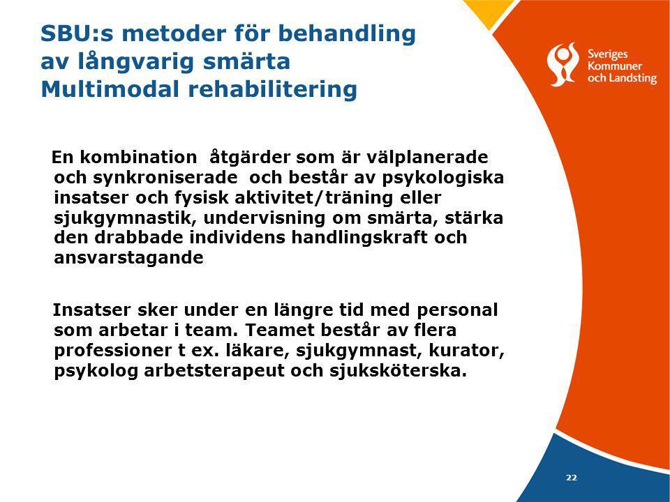 22 SBU:s metoder för behandling av långvarig smärta Multimodal rehabilitering En kombination åtgärder som är välplanerade och synkroniserade och består av psykologiska insatser och fysisk aktivitet/träning eller sjukgymnastik, undervisning om smärta, stärka den drabbade individens handlingskraft och ansvarstagande Insatser sker under en längre tid med personal som arbetar i team.