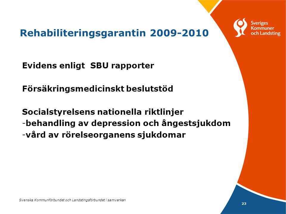 23 Svenska Kommunförbundet och Landstingsförbundet i samverkan Rehabiliteringsgarantin 2009-2010 Evidens enligt SBU rapporter Försäkringsmedicinskt be
