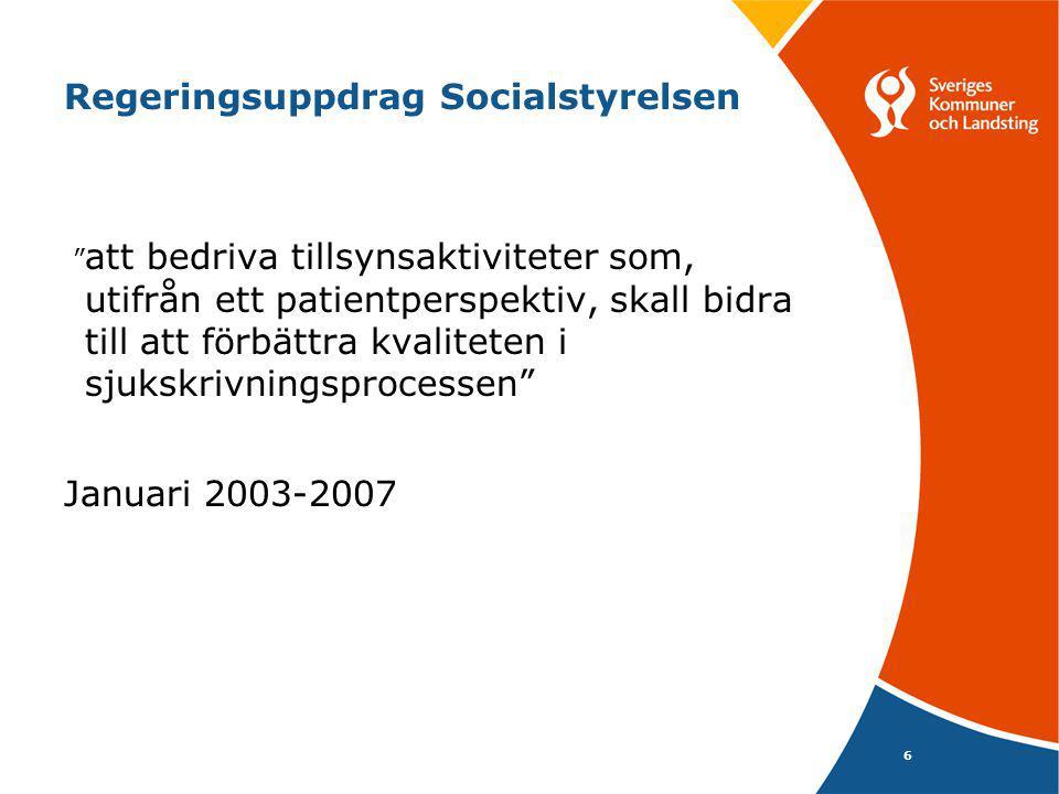 6 Regeringsuppdrag Socialstyrelsen att bedriva tillsynsaktiviteter som, utifrån ett patientperspektiv, skall bidra till att förbättra kvaliteten i sjukskrivningsprocessen Januari 2003-2007