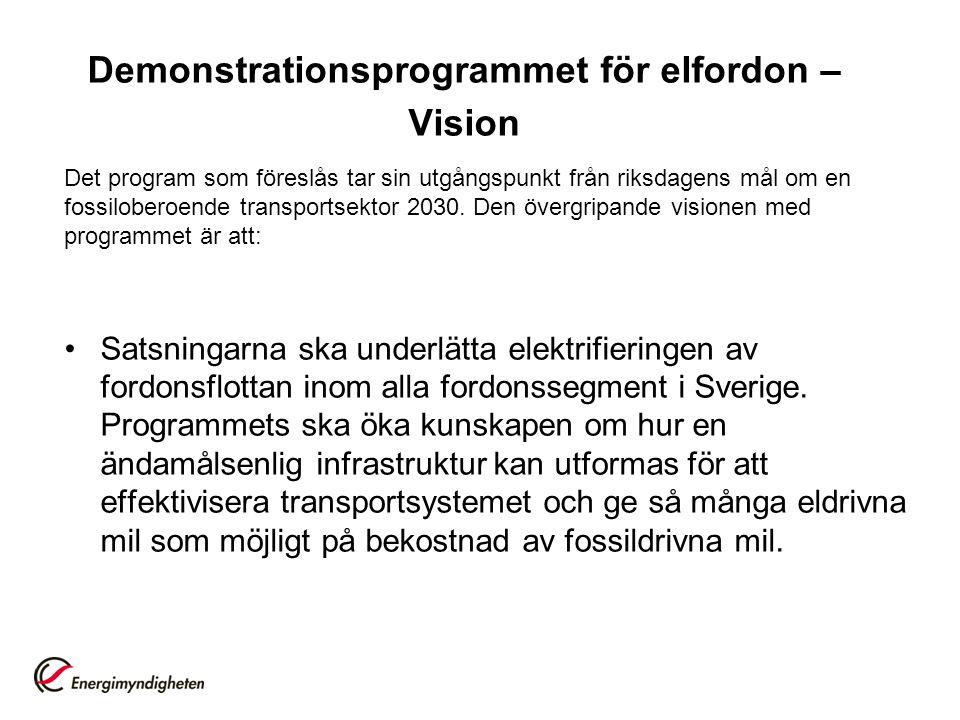 Demonstrationsprogrammet för elfordon – Vision Det program som föreslås tar sin utgångspunkt från riksdagens mål om en fossiloberoende transportsektor 2030.