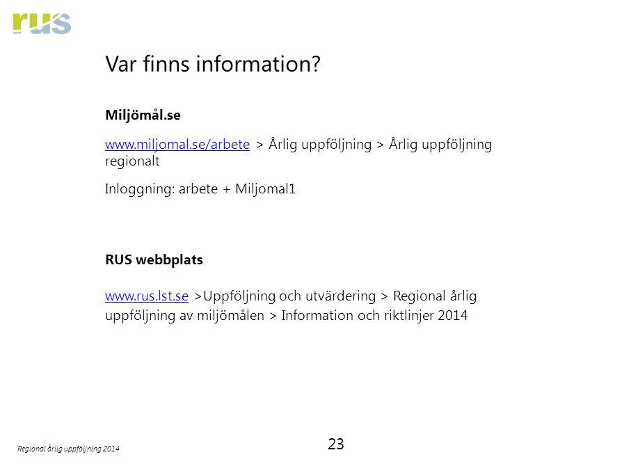 23 Regional årlig uppföljning 2014 Var finns information? Miljömål.se www.miljomal.se/arbetewww.miljomal.se/arbete > Årlig uppföljning > Årlig uppfölj