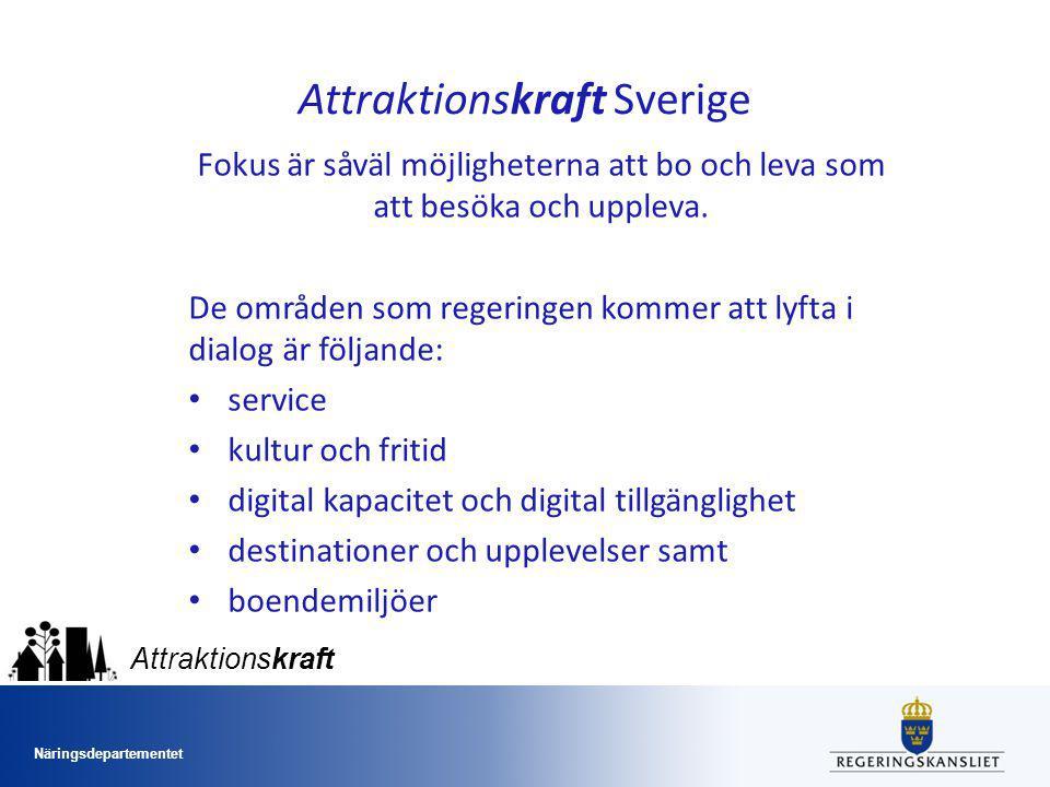 Näringsdepartementet Attraktionskraft Attraktionskraft Sverige Fokus är såväl möjligheterna att bo och leva som att besöka och uppleva.