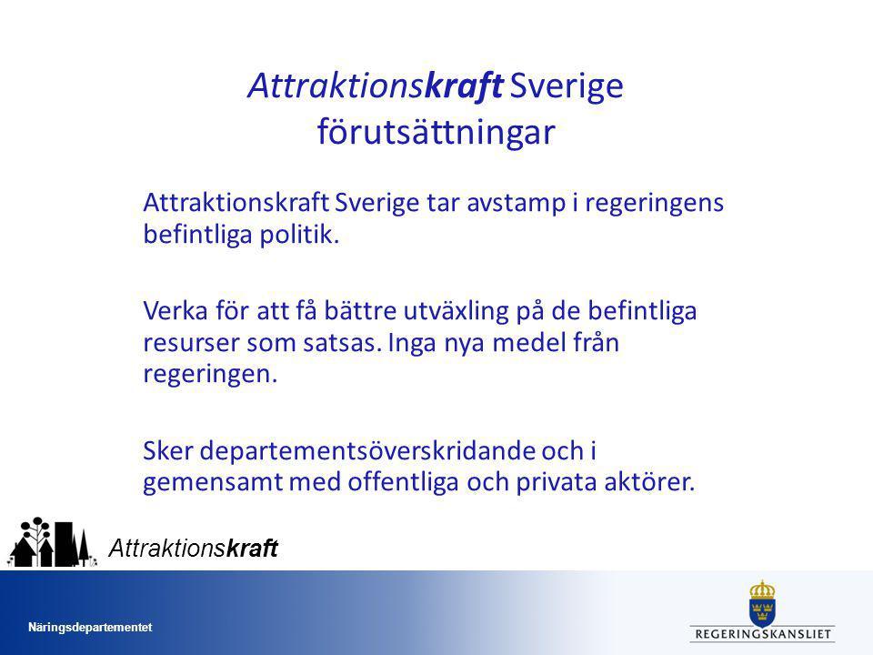 Näringsdepartementet Attraktionskraft Jämställdhet och mångfald i Attraktionskraft Sverige Attraktiva samhällen - öppna, tillåtande - jämställdhet och mångfald en del av detta.