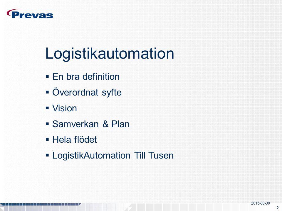 2015-03-30 2 Logistikautomation  En bra definition  Överordnat syfte  Vision  Samverkan & Plan  Hela flödet  LogistikAutomation Till Tusen