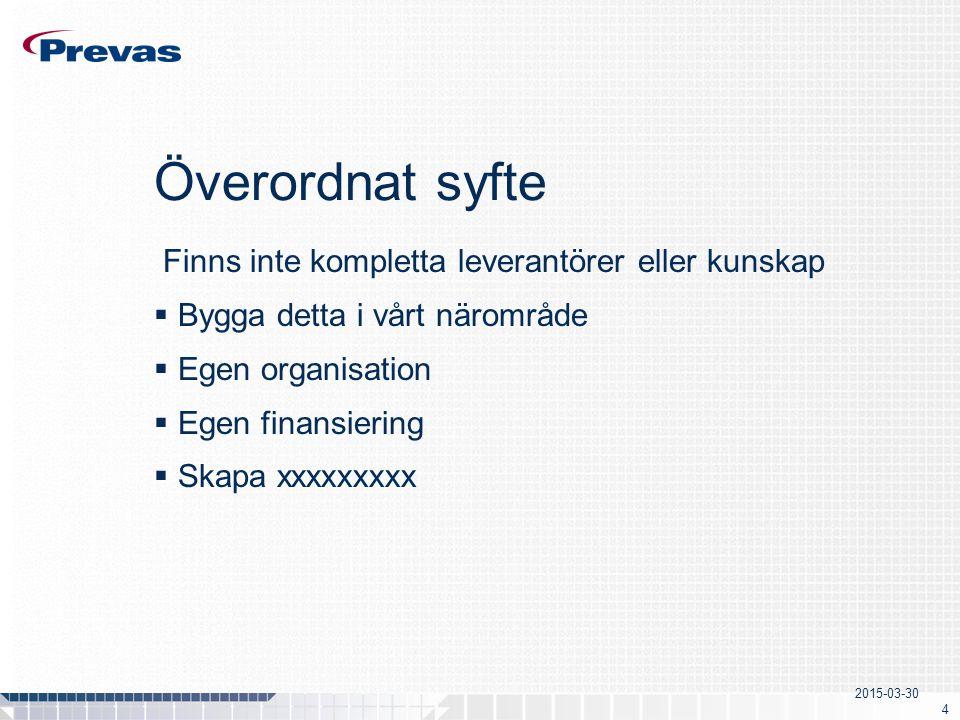 2015-03-30 4 Överordnat syfte Finns inte kompletta leverantörer eller kunskap  Bygga detta i vårt närområde  Egen organisation  Egen finansiering  Skapa xxxxxxxxx