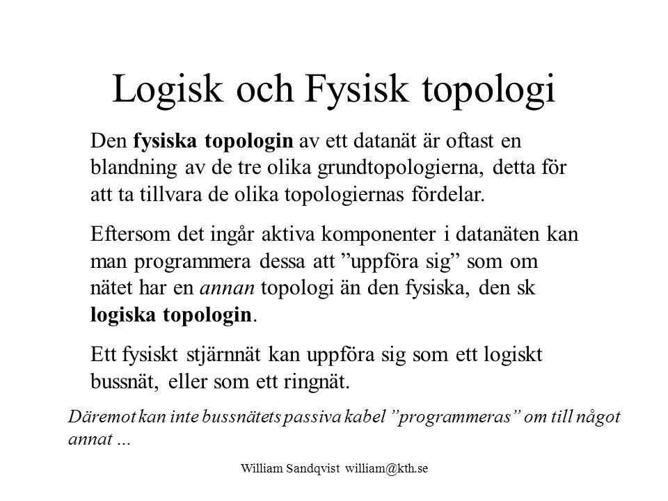 William Sandqvist william@kth.se Logisk och Fysisk topologi Den fysiska topologin av ett datanät är oftast en blandning av de tre olika grundtopologierna, detta för att ta tillvara de olika topologiernas fördelar.