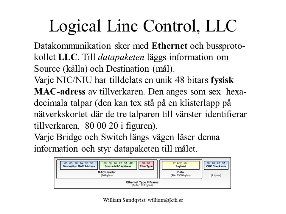 William Sandqvist william@kth.se Logical Linc Control, LLC Datakommunikation sker med Ethernet och bussproto- kollet LLC. Till datapaketen läggs infor