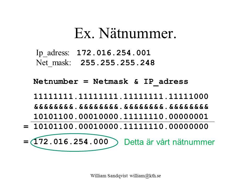 William Sandqvist william@kth.se Ex. Nätnummer. Ip_adress: 172.016.254.001 Net_mask: 255.255.255.248 Netnumber = Netmask & IP_adress 11111111.11111111