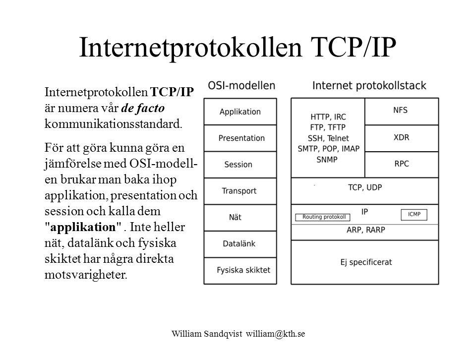 William Sandqvist william@kth.se Internetprotokollen TCP/IP Internetprotokollen TCP/IP är numera vår de facto kommunikationsstandard. För att göra kun