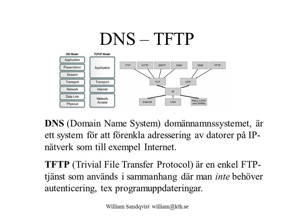 William Sandqvist william@kth.se DNS – TFTP DNS (Domain Name System) domännamnssystemet, är ett system för att förenkla adressering av datorer på IP- nätverk som till exempel Internet.