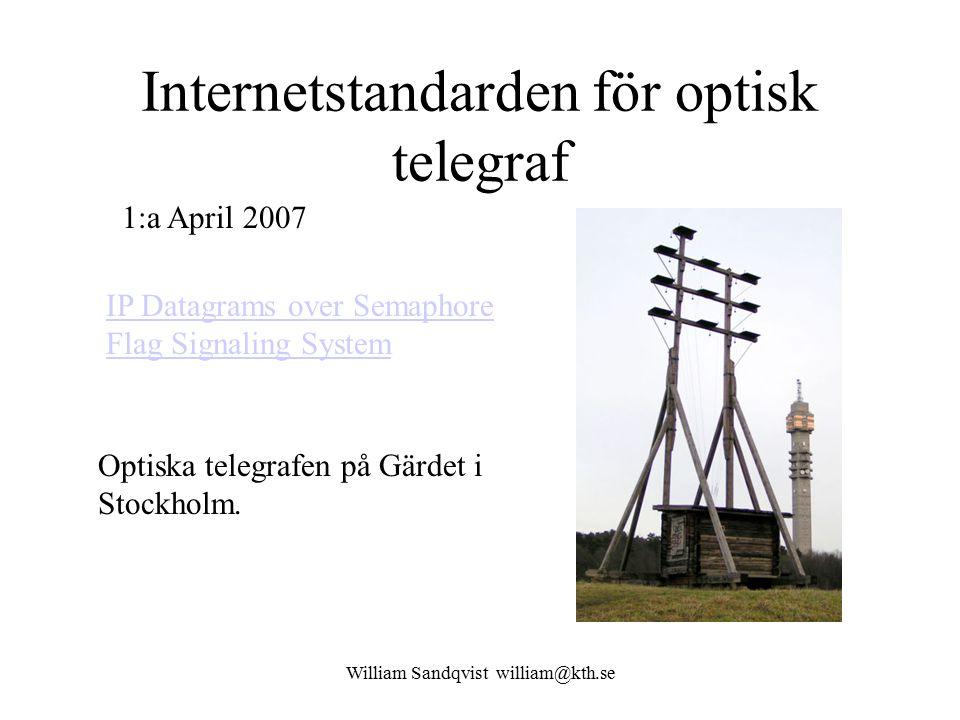 William Sandqvist william@kth.se Internetstandarden för optisk telegraf IP Datagrams over Semaphore Flag Signaling System 1:a April 2007 Optiska telegrafen på Gärdet i Stockholm.