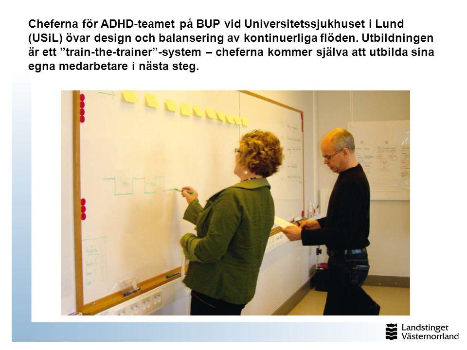 """Cheferna för ADHD-teamet på BUP vid Universitetssjukhuset i Lund (USiL) övar design och balansering av kontinuerliga flöden. Utbildningen är ett """"trai"""