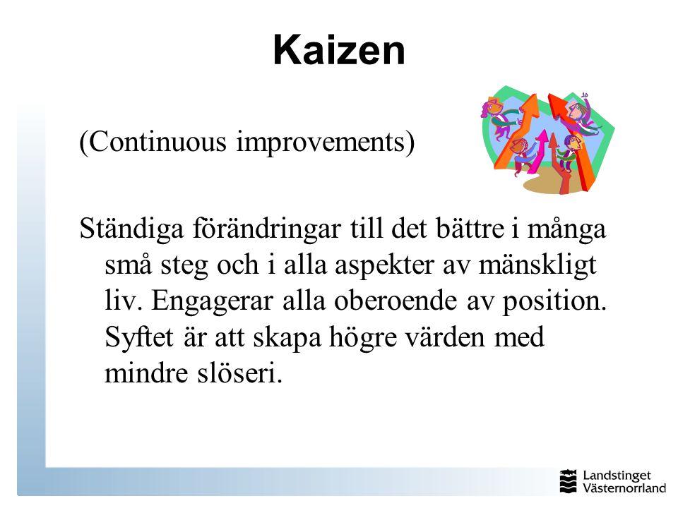 Kaizen (Continuous improvements) Ständiga förändringar till det bättre i många små steg och i alla aspekter av mänskligt liv. Engagerar alla oberoende