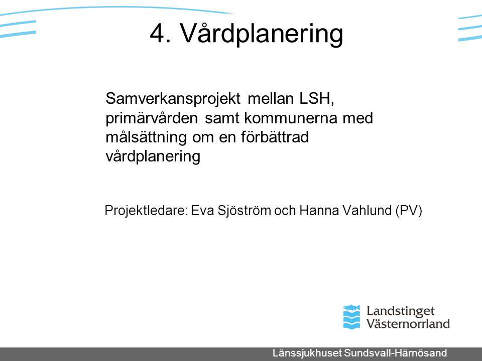 Länssjukhuset Sundsvall-Härnösand 4. Vårdplanering Projektledare: Eva Sjöström och Hanna Vahlund (PV) Samverkansprojekt mellan LSH, primärvården samt