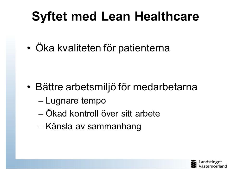 Syftet med Lean Healthcare Öka kvaliteten för patienterna Bättre arbetsmiljö för medarbetarna –Lugnare tempo –Ökad kontroll över sitt arbete –Känsla a