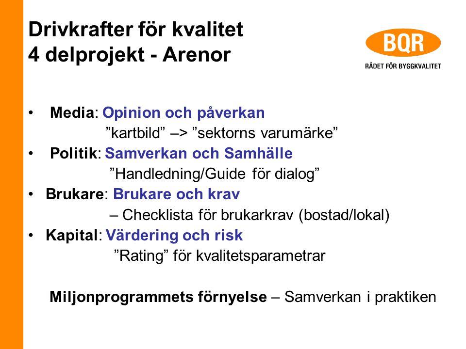 """Drivkrafter för kvalitet 4 delprojekt - Arenor Media: Opinion och påverkan """"kartbild"""" –> """"sektorns varumärke"""" Politik: Samverkan och Samhälle """"Handled"""