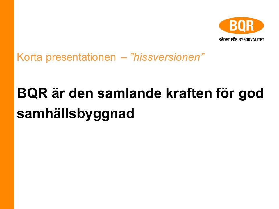 Korta presentationen – hissversionen BQR är den samlande kraften för god samhällsbyggnad