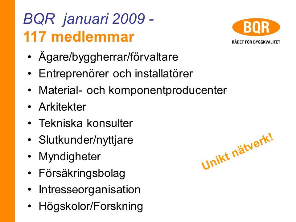 BQR januari 2009 - 117 medlemmar Ägare/byggherrar/förvaltare Entreprenörer och installatörer Material- och komponentproducenter Arkitekter Tekniska ko
