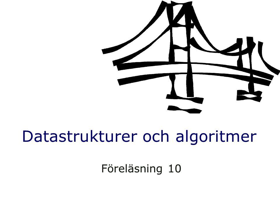 Datastrukturer och algoritmer Föreläsning 10