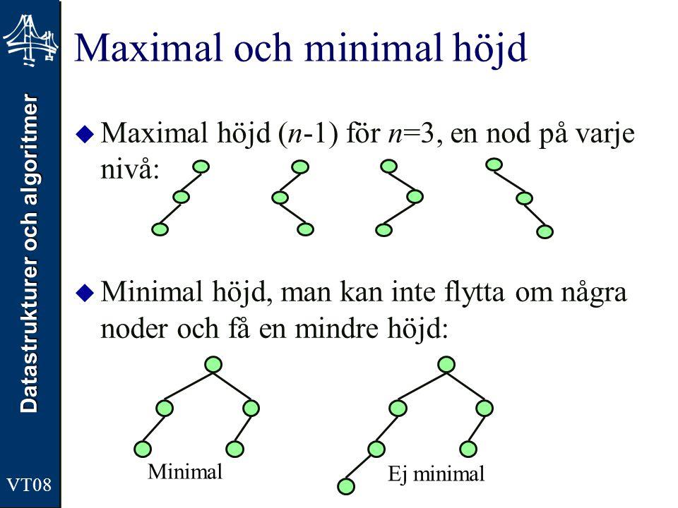 Datastrukturer och algoritmer VT08  Maximal höjd (n-1) för n=3, en nod på varje nivå:  Minimal höjd, man kan inte flytta om några noder och få en mi