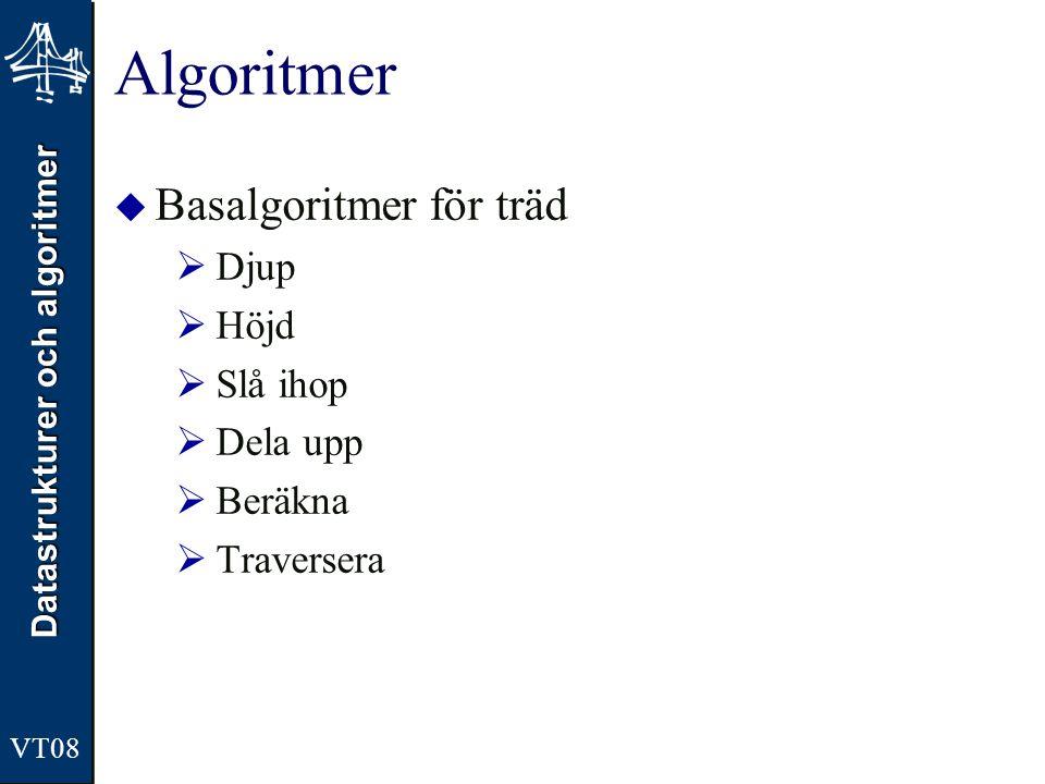 Datastrukturer och algoritmer VT08 Algoritmer  Basalgoritmer för träd  Djup  Höjd  Slå ihop  Dela upp  Beräkna  Traversera