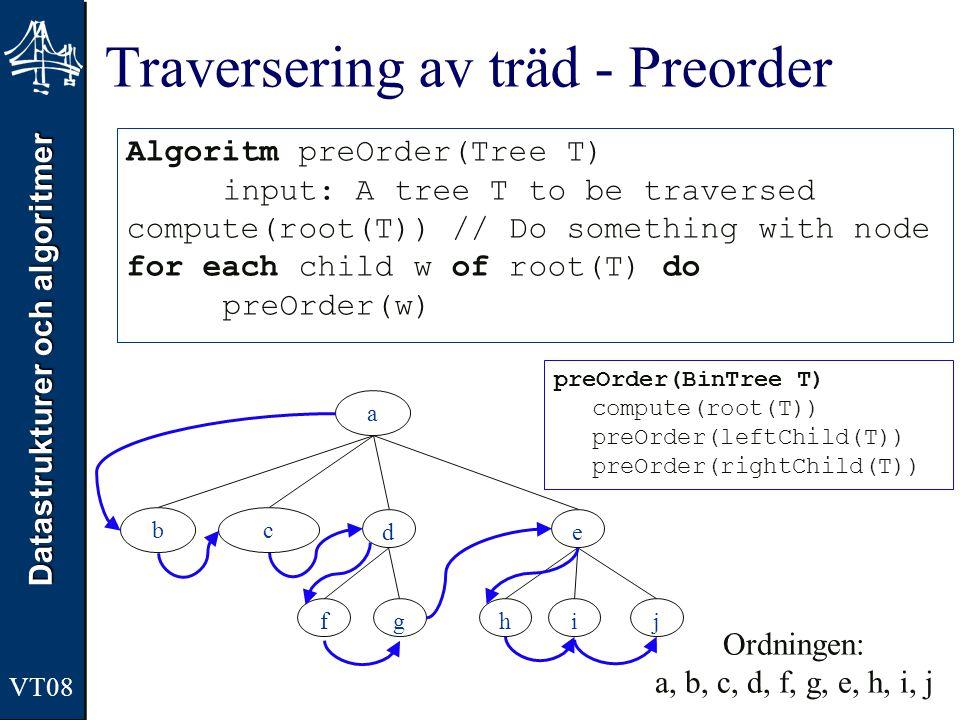 Datastrukturer och algoritmer Traversering av träd - Preorder Algoritm preOrder(Tree T) input: A tree T to be traversed compute(root(T)) // Do somethi