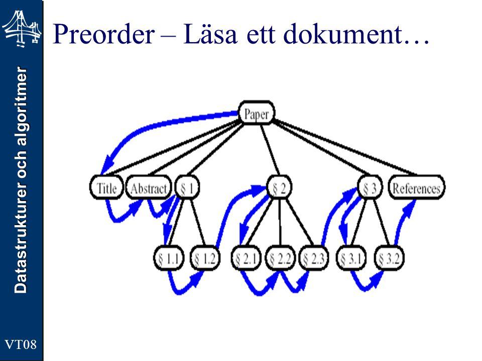 Datastrukturer och algoritmer VT08 Preorder – Läsa ett dokument…