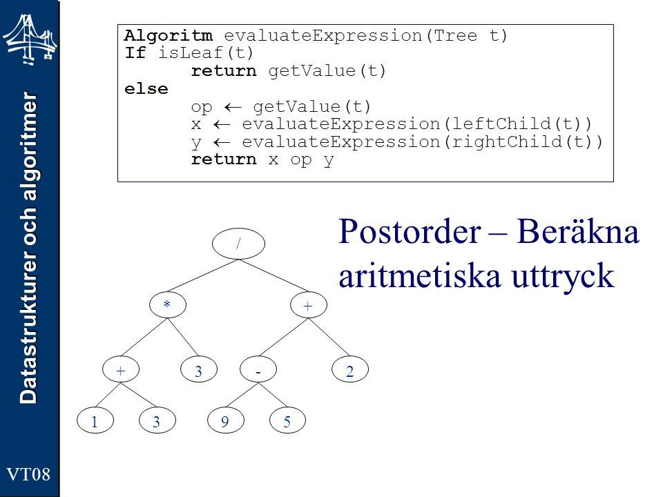 Datastrukturer och algoritmer VT08 Postorder – Beräkna aritmetiska uttryck Algoritm evaluateExpression(Tree t) If isLeaf(t) return getValue(t) else op