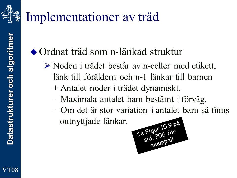 Datastrukturer och algoritmer VT08 Implementationer av träd  Ordnat träd som n-länkad struktur  Noden i trädet består av n-celler med etikett, länk