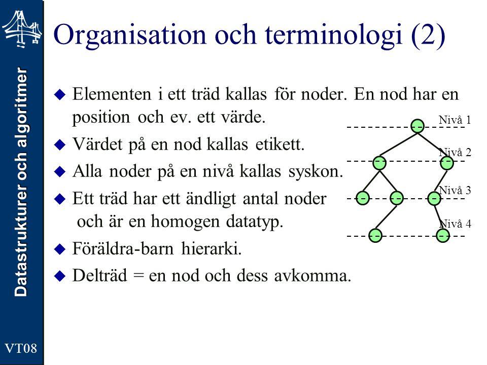 Datastrukturer och algoritmer VT08 Organisation och terminologi (2)  Elementen i ett träd kallas för noder. En nod har en position och ev. ett värde.