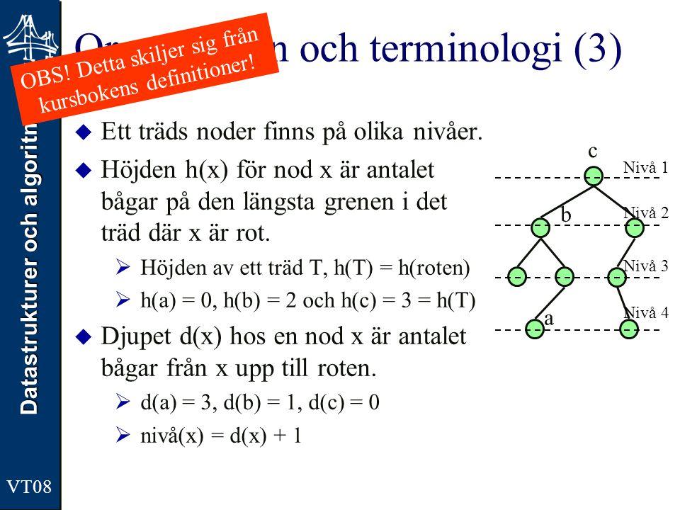 Datastrukturer och algoritmer VT08 Organisation och terminologi (3)  Ett träds noder finns på olika nivåer.  Höjden h(x) för nod x är antalet bågar