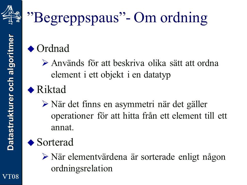 """Datastrukturer och algoritmer VT08 """"Begreppspaus""""- Om ordning  Ordnad  Används för att beskriva olika sätt att ordna element i ett objekt i en datat"""