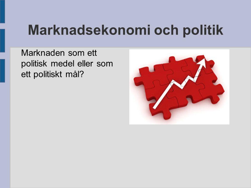Marknadsekonomi och politik Marknaden som ett politisk medel eller som ett politiskt mål?