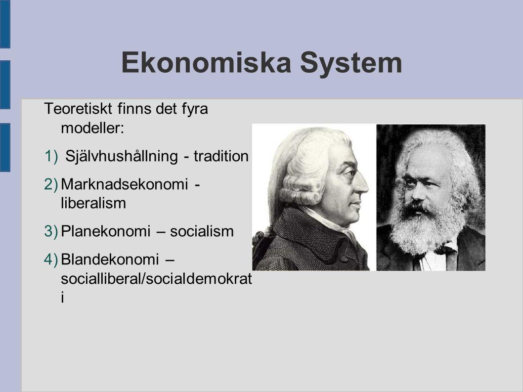 Ekonomiska System Teoretiskt finns det fyra modeller: 1) Självhushållning - tradition 2) Marknadsekonomi - liberalism 3) Planekonomi – socialism 4) Bl