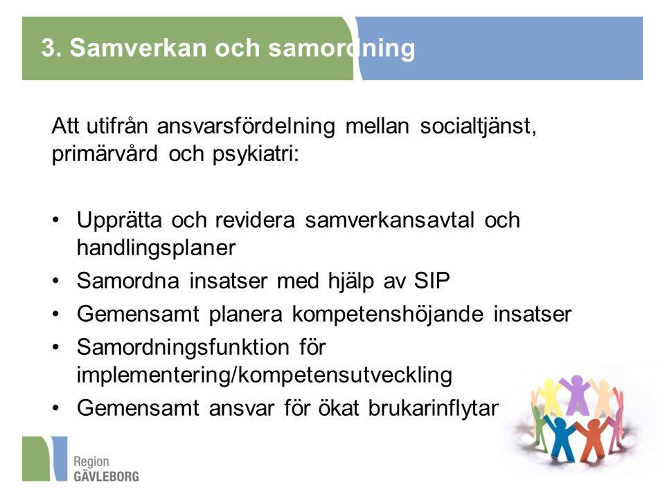 3. Samverkan och samordning Att utifrån ansvarsfördelning mellan socialtjänst, primärvård och psykiatri: Upprätta och revidera samverkansavtal och han