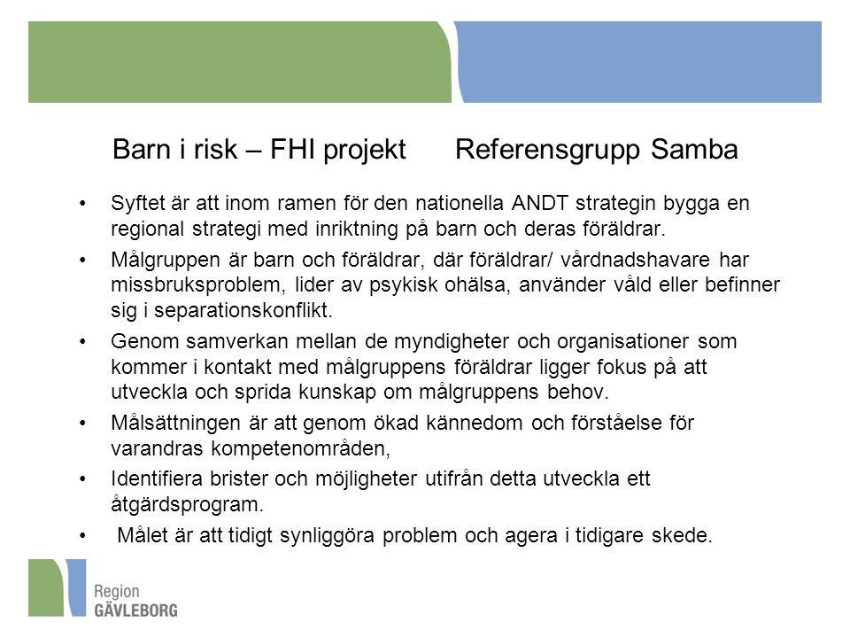 Barn i risk – FHI projekt Referensgrupp Samba Syftet är att inom ramen för den nationella ANDT strategin bygga en regional strategi med inriktning på