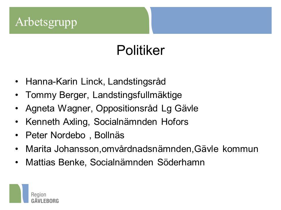 Politiker Hanna-Karin Linck, Landstingsråd Tommy Berger, Landstingsfullmäktige Agneta Wagner, Oppositionsråd Lg Gävle Kenneth Axling, Socialnämnden Ho