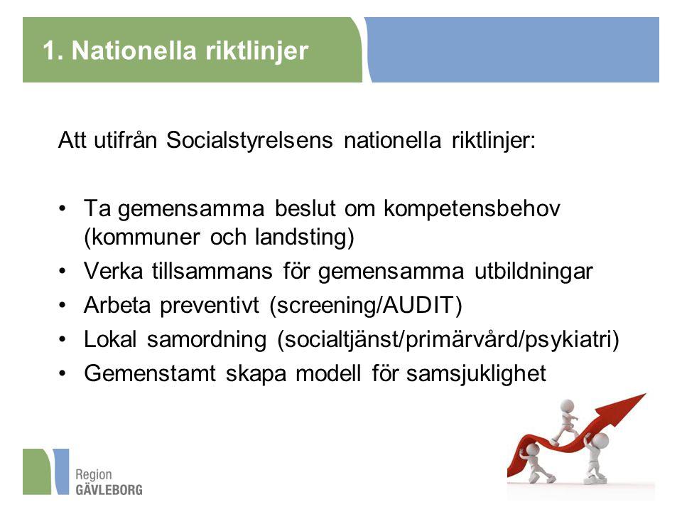 1. Nationella riktlinjer Att utifrån Socialstyrelsens nationella riktlinjer: Ta gemensamma beslut om kompetensbehov (kommuner och landsting) Verka til