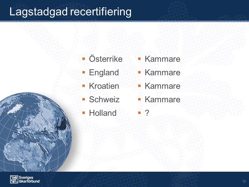 10 Lagstadgad recertifiering  Österrike  England  Kroatien  Schweiz  Holland  Kammare ??