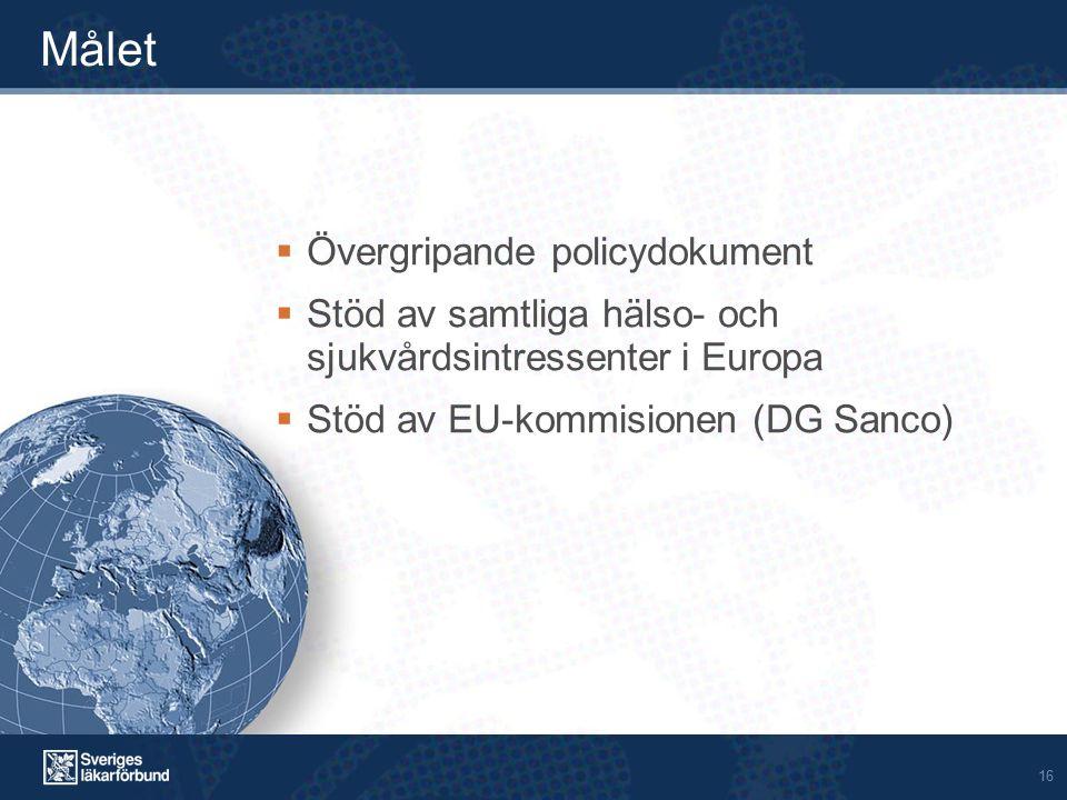 16 Målet  Övergripande policydokument  Stöd av samtliga hälso- och sjukvårdsintressenter i Europa  Stöd av EU-kommisionen (DG Sanco)