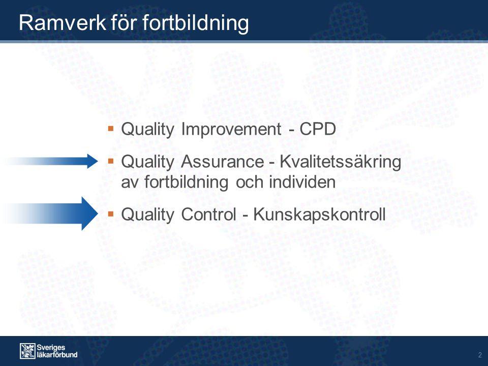 2 Ramverk för fortbildning  Quality Improvement - CPD  Quality Assurance - Kvalitetssäkring av fortbildning och individen  Quality Control - Kunska