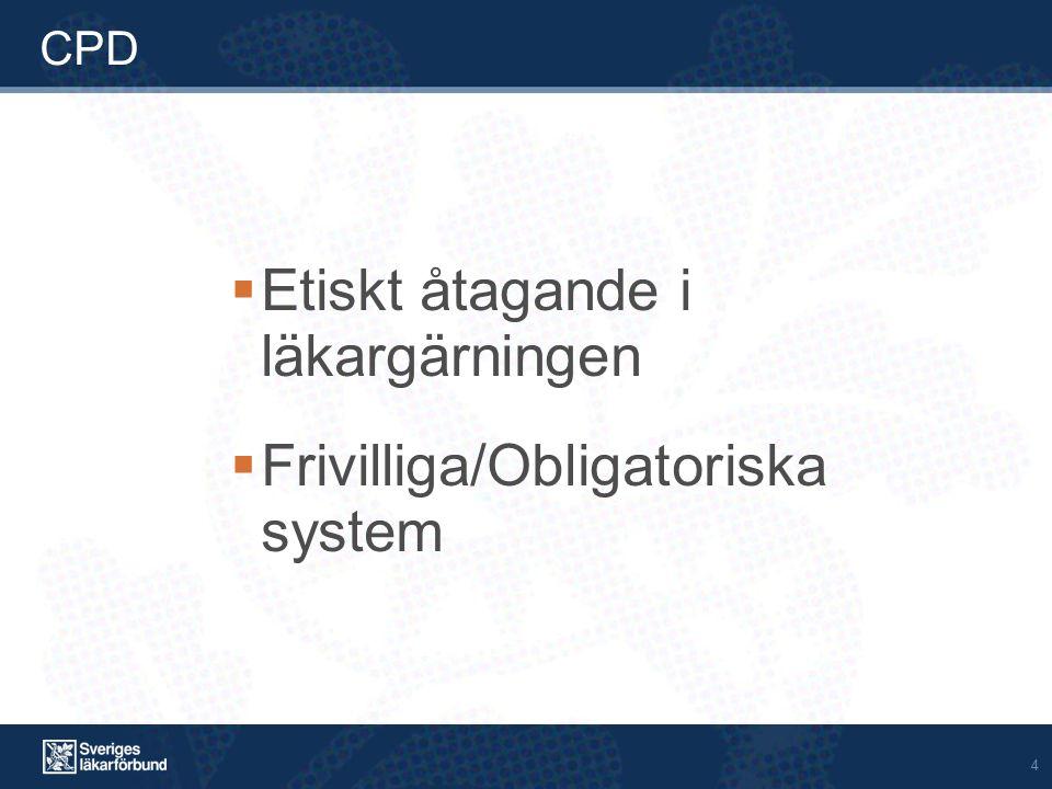 4 CPD  Etiskt åtagande i läkargärningen  Frivilliga/Obligatoriska system