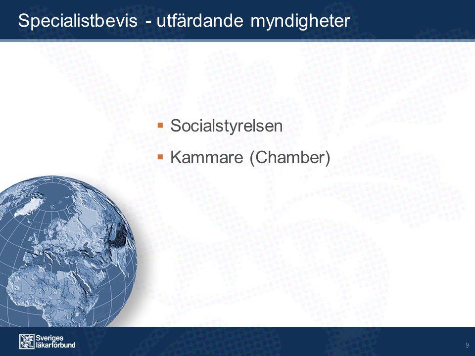 9 Specialistbevis - utfärdande myndigheter  Socialstyrelsen  Kammare (Chamber)